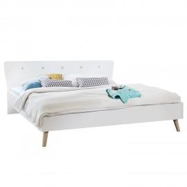 Łóżko Białe + Dąb 160x200
