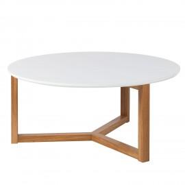 Stolik kawowy Śr.90 Biały + Dąb