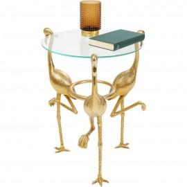Stolik Średnica 40 cm Flamingi Stal + Szkło
