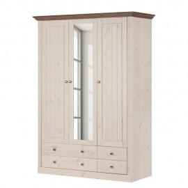 Szafa 3 Drzwi 145 cm Drewno Sosna
